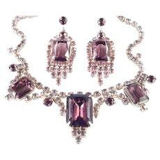 Rhinestone Necklace Pendant Dangle Earrings Demi Parure Set