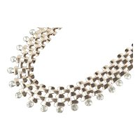 Rhinestone Tipped Wide Woven Chain Collar Necklace