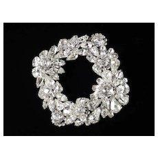 Weiss Large Diamond Shaped Rhinestone Brooch Pin