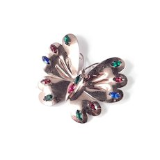 Sterling By Glamour Silver Vermeil Rhinestone Butterfly Brooch Pin