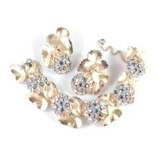 Elsa Schiaparelli Leaf Berry Rhinestone Link Bracelet Earrings Demi Parure Set