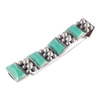 Mexico Silver Carved Green Stone Link Bracelet