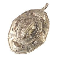 Victorian Antique Embossed Engraved Brass Pendant
