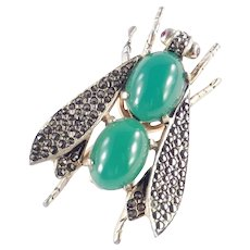 Vogue Jlry Marcasite Cabochon Rhinestone Fly Insect Bug Figural Brooch Pin