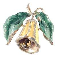 Enamel Rhinestone Bellflower Bell Flower Early Pot Metal Brooch Pin