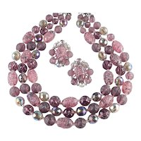 Triple Strand Art Glass Watermelon Bead Necklace Earrings Demi Parure Set