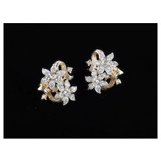 Trifari Double Blossom Rhinestone Earrings
