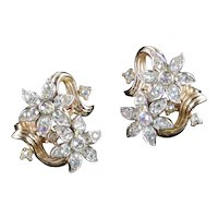 Trifari Double Blossom Rhinestone Earrings