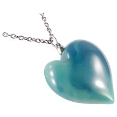 Kenneth Lane Faux Jade Resin Lucite Plastic Puffy Heart Pendant Necklace