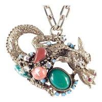 Har Hargo Rhinestone Cabochon Fantasy Dragon Pendant Necklace Unsigned