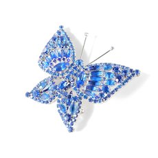 Large Layered Rhinestone Butterfly Brooch Pin