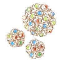 Sarah Coventry Moon-Lites Rhinestone Brooch Pin Earrings Set