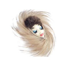 Elzac Ceramic Victim of Fashion Face Faux Fur Feather Brooch Pin