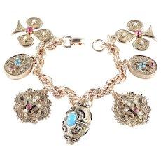 Shamrock Fleur de Lis Rhinestone Faux Pearl Charm Bracelet