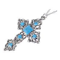 Large Faux Turquoise Cross Pendant Necklace