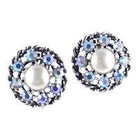 Coro Rhinestone Faux Pearl Cabochon Earrings