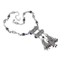 Black Smoke Bead Tassel Cylinder Fringe Tassel Pendant Necklace