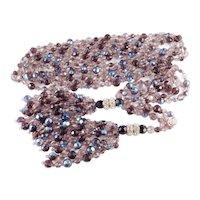 Joan Rivers Crystal Bead Rhinestone Rondelle Tassel Lariat Convertible Rope Necklace
