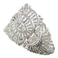 Art Deco Baguette Rhinestone Dress Clip