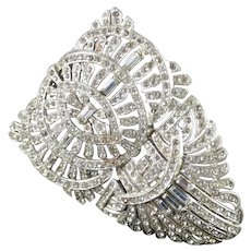 Art Deco Baguette Rhinestone Dress Clip