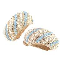 Faux Turquoise Pearl Wide Half Hoop Huggie Earrings