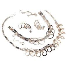 Sarah Coventry Celestial Fire Rhinestone Necklace Bracelet Earrings Parure Set