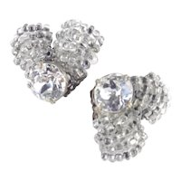 Miriam Haskell Dentelle Rhinestone  Glass Seed Bead Earrings