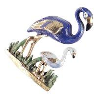 Enamel Flamingo / Chick Pair Figural Brooch Pin