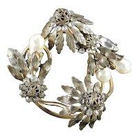 Hattie Carnegie Rhinestone Baroque Faux Pearl Flower Brooch Pin