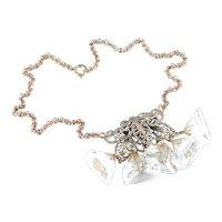 Art Deco Pyramid Glass Crystal Bead Dangle Filigree Necklace