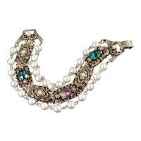 Goldette Stationary Slide Bracelet Rhinestone Faux Pearl