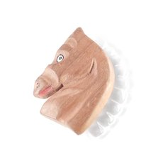 Hand Painted Carved Wood Horse Head Figural Lucite Mane Brooch Pin