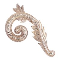 Jonette Jewelry JJ Large Leafy Plume Flourish Spray Brooch Pin