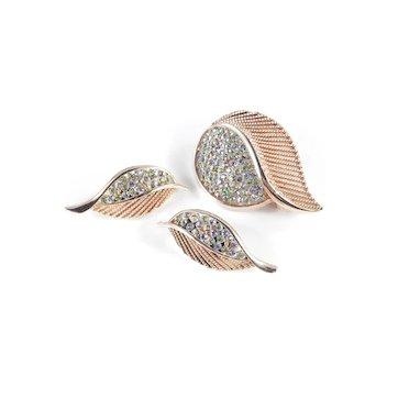 Kramer Rhinestone Leaf Brooch Pin Earrings Set