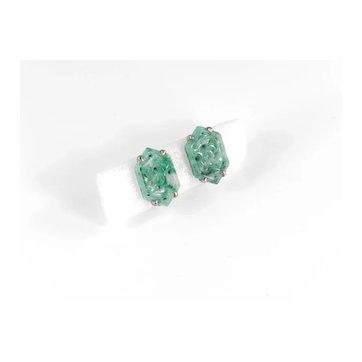 Art Deco Vintage Carved Hexagon Jade Sterling Silver Vermeil Screw Back Earrings