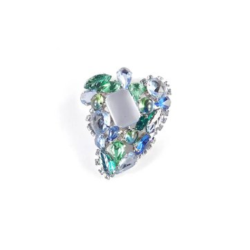 Molded Art Glass Rhinestone Brooch Pin