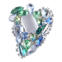Molded Art Glass Rhinestone Brooch Pin