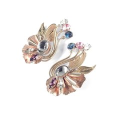 Vintage Italian Handcrafted Couture Rhinestone Climber Earrings