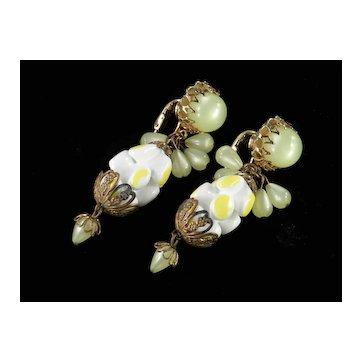 Moonglow Freeform Molded Glass Bead Dangle Earrings