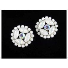 Weiss Large Opalescent Milk Glass Rhinestone Earrings