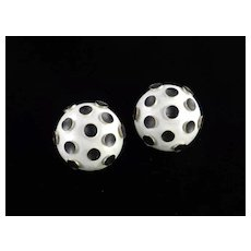 Germany High Domed Enamel Polka Dot Earrings