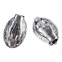 Whiting & Davis Snake Serpent Cobra Earrings Rhodium Plate