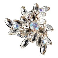 Crystal Glass Rhinestone Triangle Brooch Pin