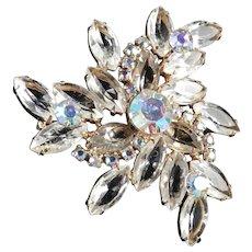 Crystal Glass Rhinestone Triangle Brooch Pin