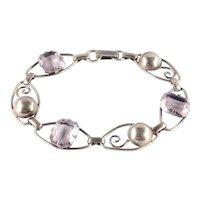 1/20 12K Faux Amethyst Glass Stone Link Bracelet