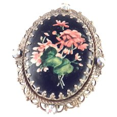 Germany Transfer Floral Print Ceramic Plaque Filigree Brooch Pin