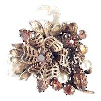 Vendôme Coro Rhinestone Faux Baroque Pearl Brooch Pin