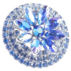 Layered Crowned Rhinestone Brooch Pin