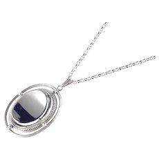 Whiting Davis Hematite Glass Pendant Necklace