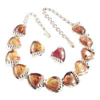 Faux Amber Lucite Link Necklace Earrings Demi Parure Set